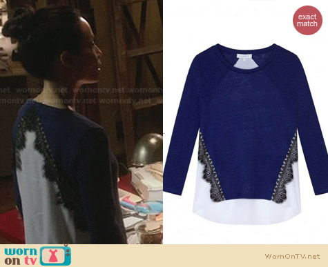 Fashion of Elementary: Sandro Lace Silk Back Shirt worn by Lucy Liu