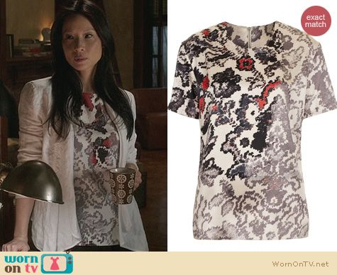 Elementary Fashion: Topshop silk print tee by Unique worn by Lucy Liu