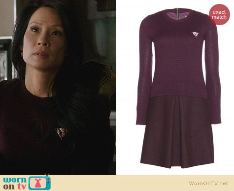 Fashion of Elementary: Victoria Beckham Purple Wool Sweater Dress worn by Lucy Liu