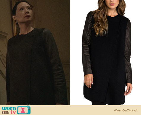 Fashion of Elementary: Vince Double Face Wool Coat with Leather Sleeves worn by Lucy Liu