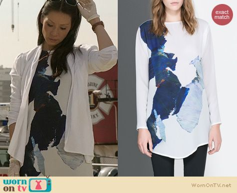 Elementary Fashion: Zara Long Printed Tshirt worn by Joan Watson