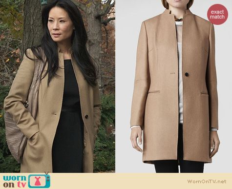 Elementary Style: All Saints Hendrick Coat worn by Lucy Liu