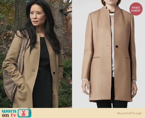 Elementary Style: All Saints Hendrick Coat worn by Lucy Liu