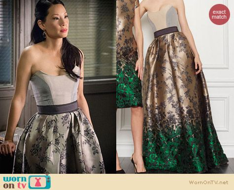 Fashion of Elementary: Carolina Herrera Pre-Fall 2013 Gown worn by Lucy Liu
