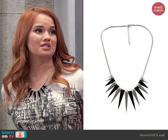 Elie Fashion Rivet Spike Necklace worn by Jessie Prescott on Jessie
