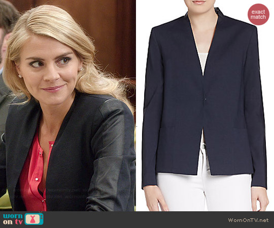 Elie Tahari Abby Perforated Leather Blazer worn by Eliza Coupe on Benched