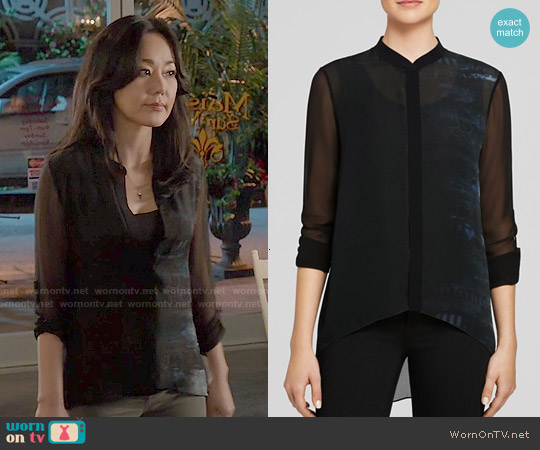 Elie Tahari 'Alejandra' Snakeskin Print Silk Blouse worn by Yunjin Kim on Mistresses