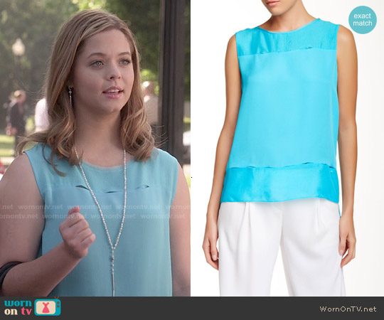 Elie Tahari Aneita Silk Blouse in Aqua worn by Sasha Pieterse on PLL