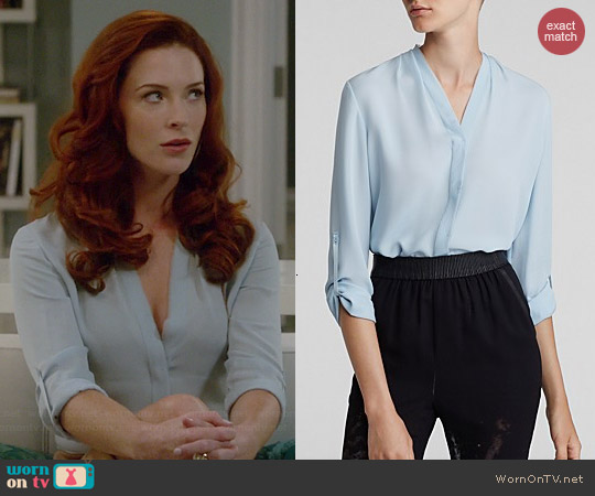 Elie Tahari Annabella Silk Blouse in Vertigo worn by Bridget Regan on Jane the Virgin