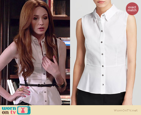 Elie Tahari Beatrice Sleeveless Blouse worn by Karen Gillan on Selfie