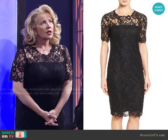 Elie Tahari Bellamy Lace Sheath Dress worn by Melody Thomas-Scott on The Young & the Restless