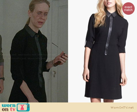 Elie Tahari Belle Leather Trim Shirtdress worn by Sarah Paulson on AHS Coven