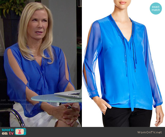 Elie Tahari Emmy Chain Trim Silk Blouse worn by Katherine Kelly Lang on The Bold & the Beautiful