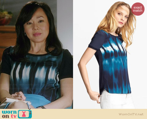 Elie Tahari Enza Blouse worn by Yunjin Kim on Mistresses