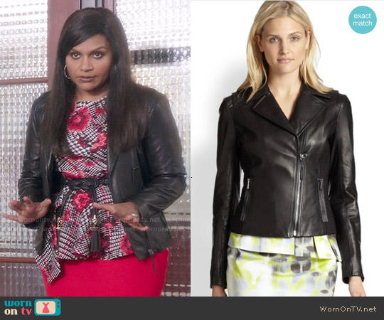 Elie Tahari Friva Leather Jacket worn by Mindy Kaling on The Mindy Project
