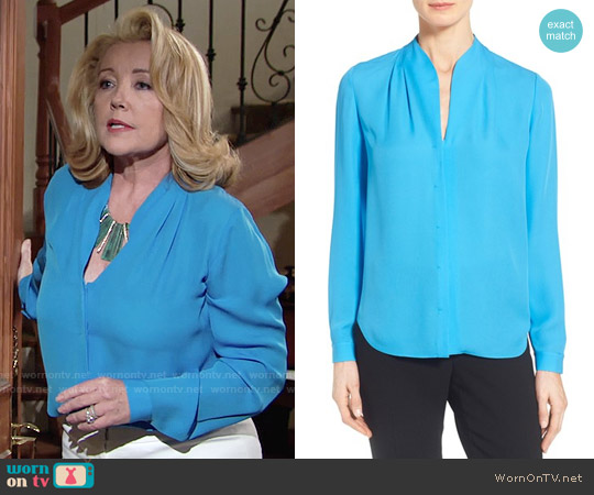 Elie Tahari 'Judith' Split Neck Silk Georgette Blouse worn by Melody Thomas-Scott on The Young & the Restless