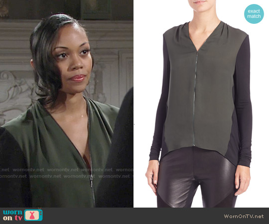 Elie Tahari Mali Top in Ocean Green worn by Mishael Morgan on The Young & the Restless