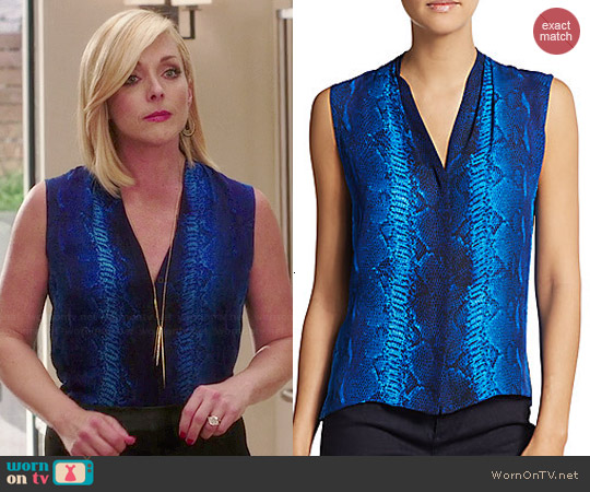 Elie Tahari Maureen Silk Snake Print Blouse worn by Jane Krakowski on Unbreakable Kimmy Schmidt
