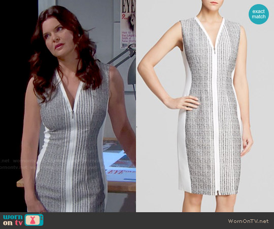 Elie Tahari Mila Zip Front Dress worn by Heather Tom on The Bold & the Beautiful