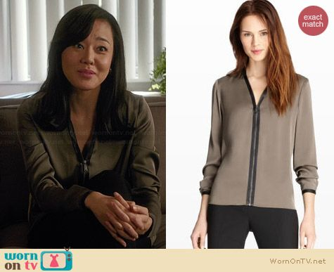 Elie Tahari Sharon Blouse in Cafe Au Lait worn by Yunjin Kim on Mistresses