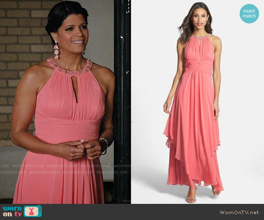 Eliza J Embellished Tiered Chiffon Halter Gown worn by Andrea Navedo on Jane the Virgin