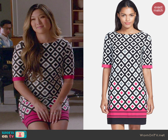 Eliza J Diamond Print Jersey Shift Dress worn by Jenna Ushkowitz on Glee