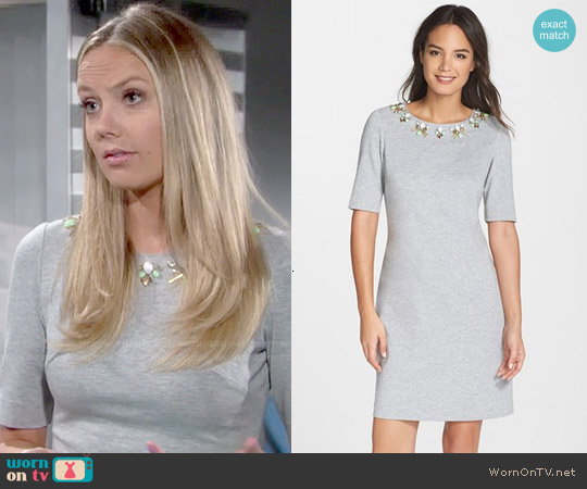Eliza J Embellished Heathered Ponte Shift Dress worn by Melissa Ordway on The Young & the Restless