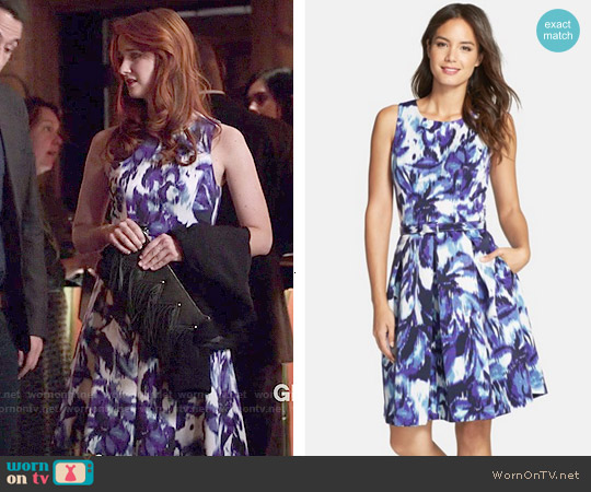 Eliza J Floral Print Faille Fit & Flare Dress worn by Laura Spencer on Bones