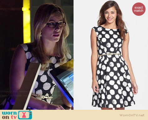 Eliza J Polka Dot Faille Fit & Flare Dress worn by Emily Bett Rickards on Arrow