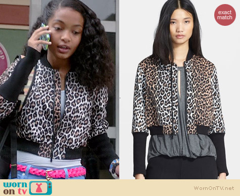 Elizabeth and James Lena Animal Print Jacket worn by Yara Shahidi on Black-ish