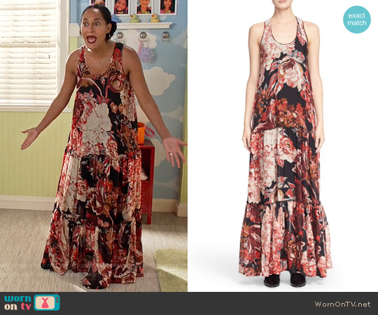 Elizabeth & James Izzie Floral Silk Maxi Dress worn by Tracee Ellis Ross on Blackish