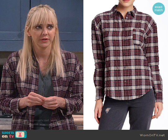 Elizabeth & James Carine Shirt in Black Cherry Plaid worn by Anna Faris on Mom