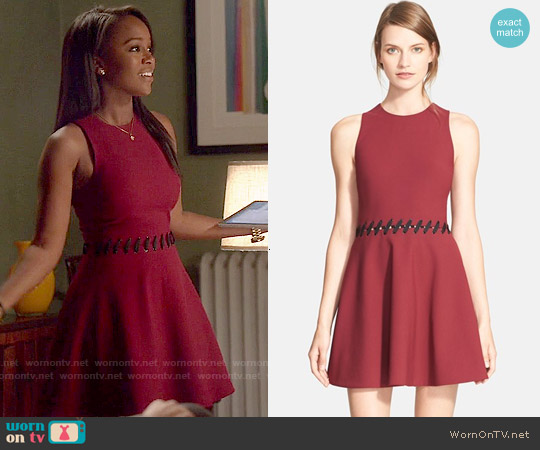 Elizabeth & James Carter Dress in Black Cherry worn by Aja Naomi King on HTGAWM