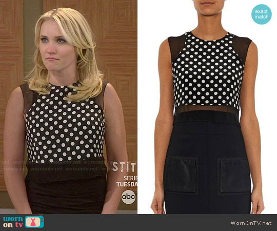 Elizabeth & James Enno Polka Dot Crop Top worn by Emily Osment on Young & Hungry