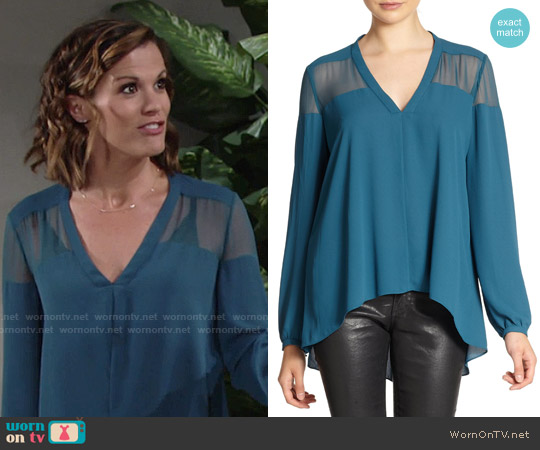 Elizabeth & James Karin Blouse in Teal worn by Melissa Claire Egan on The Young & the Restless
