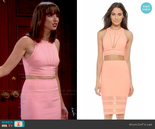 Elizabeth and James New Upton Top and Carrigan Skirt worn by Ashleigh Brewer on The Bold & the Beautiful