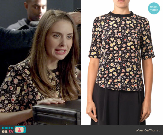Elizabeth & James Piper Floral Silk Blouse worn by Alison Brie on Community