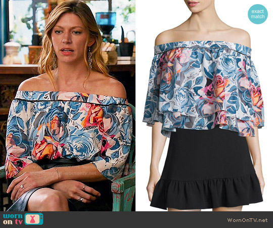 Elizabeth & James Vanessa Off Shoulder Top worn by Jes Macallan on Mistresses
