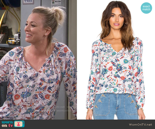 Ella Moss  Dolce Floral Peasant Top worn by Kaley Cuoco on The Big Bang Theory