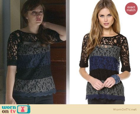 Ella Moss Lace Colorblock Top worn by Aubrey Peeples on Nashville