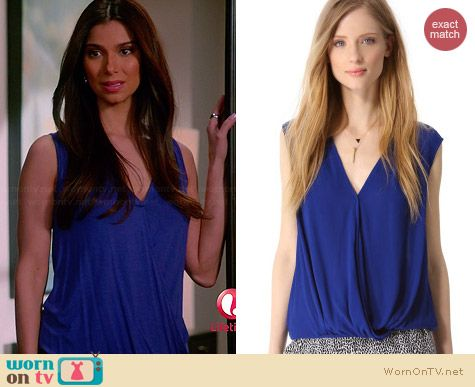Ella Moss Stella Crepe Surplice Top worn by Roselyn Sanchez on Devious Maids