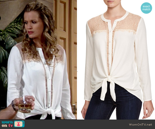 Ella Moss Stella Lace Inset Shirt worn by Melissa Claire Egan on The Young & the Restless