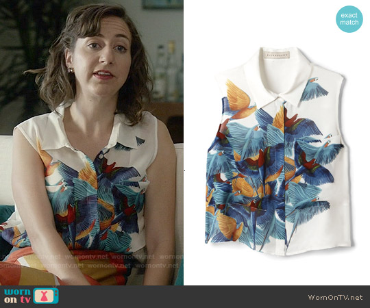 Elle Sasson Cisco Top in Bird Print worn by Kristen Schaal on Last Man On Earth