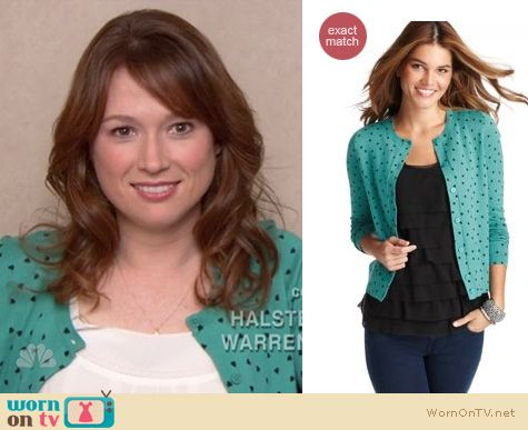 The Office Fashion: Tossed hearts cardigan from Loft worn by Ellie Kemper