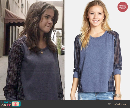 Elodie Chiffon Back Sweatshirt worn by Maia Mitchell on The Fosters