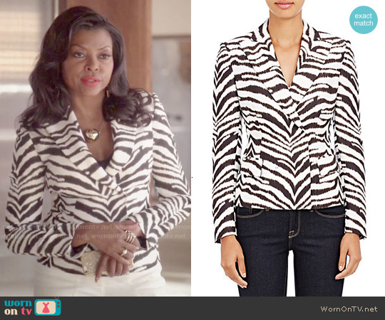 Emanuel Ungaro Fitted Zebra Print Jacket worn by Taraji P. Henson on Empire