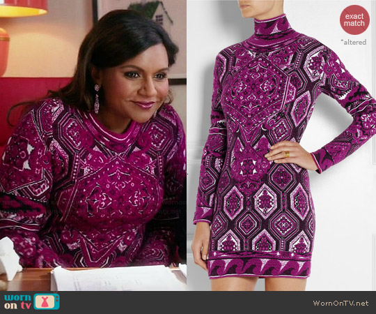 Emilio Pucci Stretch Knit Jacquard Dress worn by Mindy Kaling on The Mindy Project