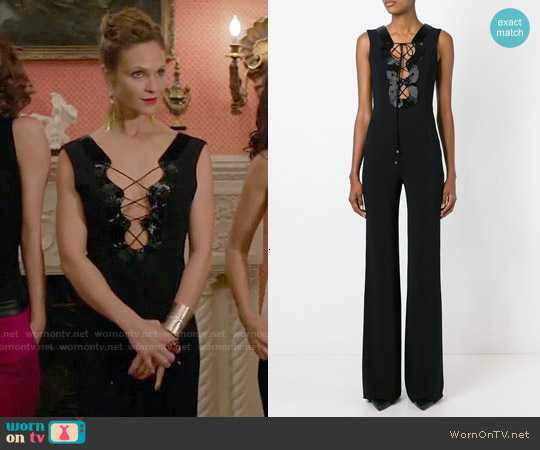 Emilio Pucci Lace-up Cleavage Jumpsuit worn by Beau Garrett on GG2D