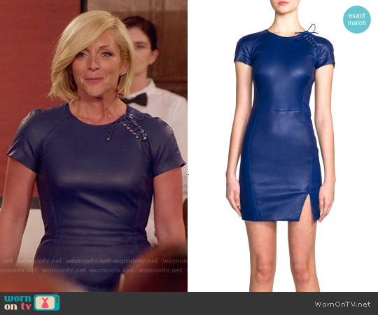 Emilio Pucci Lace-Up Leather Dress worn by Jane Krakowski on Unbreakable Kimmy Schmidt