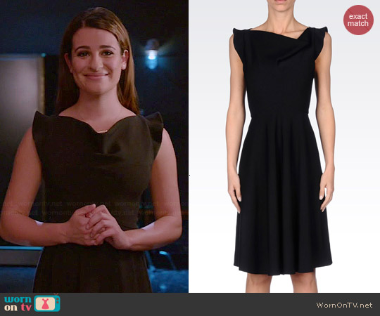 Emporio Armani Dress in Technical Viscose worn by Lea Michele on Glee